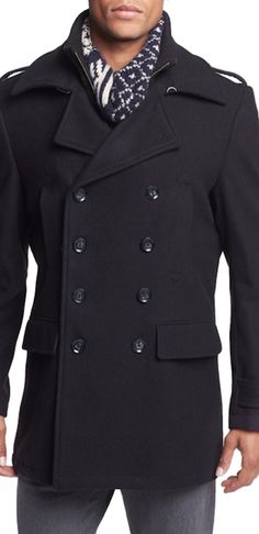 7 Diamonds 'Glasgow' Regular Fit Double Breasted Coat