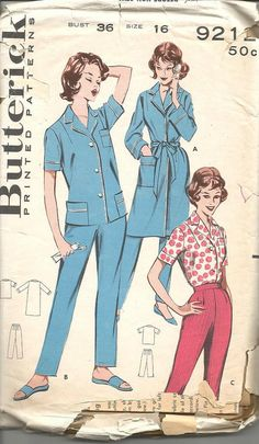 04273d5f2cb8 1960s Tailored Pajamas and Robe or Blouse and by kinseysue on Etsy Motif  Vintage, Des
