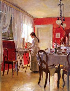 Peter Vilhelm Ilsted (1861-1933) The Dining Room Oil on canvas 1887