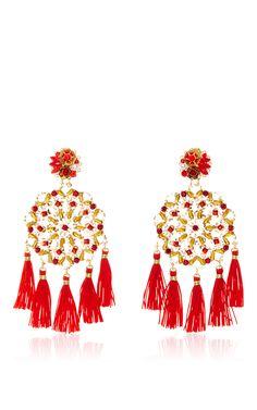 True Red Aretes Fiesta Earrings by MERCEDES SALAZAR for Preorder on Moda Operandi