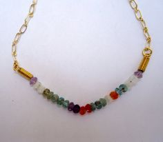 Multi gemstone bracelet with gold plated chain by JoolsbyAveril