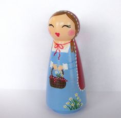 Hand Painted Love Boxes Little Red Riding Hood Peg Doll Wood...This little doll is 3.5 inches tall. She is a birthday cake topper, collectible or dolly for anyone over the age of 5.