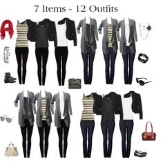 """""""7 Items - 12 Outfits"""" by issacat on Polyvore     LLee>> all 12 outfits have the same Bottom piece..."""