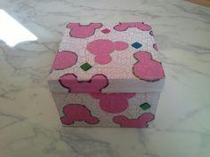 Basteln mit Schachteln im Mickeylook, Serviettentechnik und crackeliertechnik