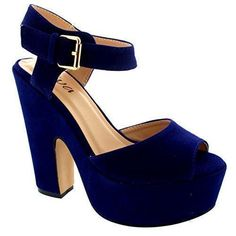 Oferta: 26.99€. Comprar Ofertas de Mujer Correa Tobillo Zapatos Plataforma Tacones Faux Gamuza Sandalias - Azul De Cobalto - 37 barato. ¡Mira las ofertas!