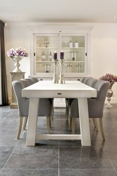 Modern Dining Room... Chic. Simple. Clean. Grey & white.