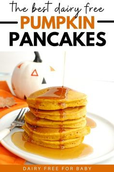 These dairy free pumpkin pancakes are the best fall breakfast! Made with real pumpkin and pumpkin pie spice, these pancakes are a perfect cozy morning meal. You'll love this dairy free fall treat.