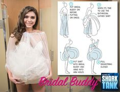 Give the gift every bride will love! Bridal Buddy helps protect her dress while she walks outside and uses the bathroom stall- SOLO! No need for bridesmaids holding up her gown in that tiny bathroom stall- Bridal Buddy has got her back! Cute Wedding Ideas, Wedding Tips, Wedding Bride, Wedding Gowns, Dream Wedding, Wedding Day, Wedding Inspiration, Wedding Stuff, Fantasy Wedding