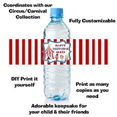 Carnival Circus Water Bottle Wrap - DIY Party Favor. $5.00, via Etsy.