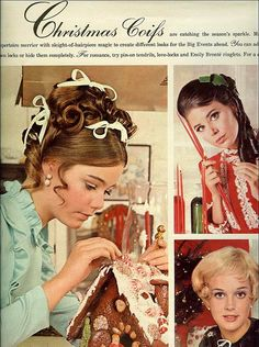 "Christmas coifs From Seventeen, December Susan Dey (""The Partridge Family, ""L. Law"") on the left. Colleen Corby on the right Christmas Hair, Retro Christmas, Vintage Holiday, Xmas, Holiday Hair, Christmas Time, Christmas Crafts, Christmas Decorations, Vintage Advertisements"