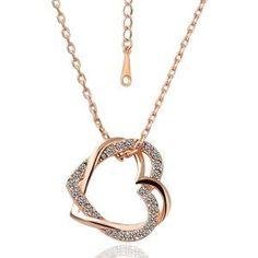 Great 18k Rose Gold Swarovski Crystal Heart necklace. Rose gold is in! $21.00