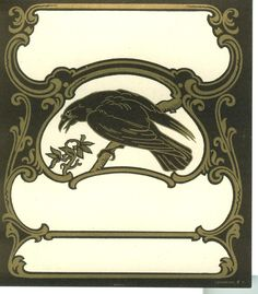 Raven Label...I like this bookplate...a raven for a raven...