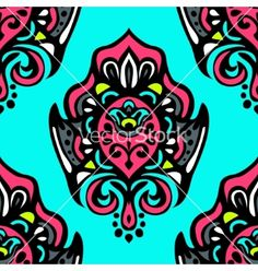 Luxury damask seamless pattern floral design vector - by astyanov on VectorStock®