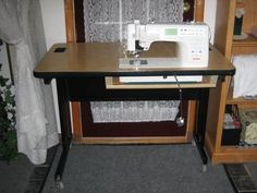Great Screen sewing table setup Concepts ~Life With Lou~: Janome Table Converted! another great DIY sewing table made from a thrift sto Sewing Room Furniture, Sewing Desk, Diy Sewing Table, Sewing Machine Tables, Sewing Cabinet, Old Sewing Machines, Sewing Blogs, Sewing Hacks, Sewing Tips