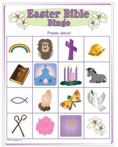 Easter Bible Picture Bingo - Just found that this link doesn't lead to this project, but pinning it for future craft idea for Sunday School. Easter Bingo, Easter Games, Easter Activities, Bible Activities, Group Activities, Bible Crafts For Kids, Bible Study For Kids, Kids Bible, Kids Church