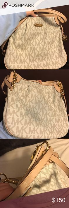 White MK Crossbody/Shoulder Bag Used a few times, still in great condition.. jean mark on one side, pictured. Not too visible. Michael Kors Bags Crossbody Bags