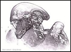 Alien Sketch: pencil detail: Andy Brase: https://www.facebook.com/AndyBraseArt