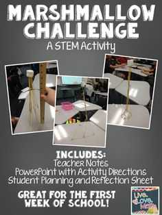 Looking for a fun Back to School Activity? You students will LOVE this Marshmallow Challenge. This activity has been adapted from Tom Wujecs Marshmallow Challenge. First Week Of School Ideas, Beginning Of School, Science Classroom, School Classroom, Classroom Ideas, Classroom Team Building Activities, Grade 8 Classroom, Team Building Challenges, Fun Team Building Activities