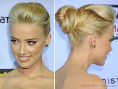 Amber Heard Blonde Bun Hairstyle
