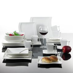 Malacasa, Series Flora, Ivory White Porcelain China Ceramic Cream White Dinner Combi-Set with Cups Saucers Dessert Plates Soup Plates and Dinner Plates Dinnerware Service for 6 Dinner Plate Sets, Dinner Sets, Dinner Plates, Dessert Plates, Square Dinnerware Set, Ceramic Dinner Set, Soup Plating, Porcelain Dinnerware, Glass