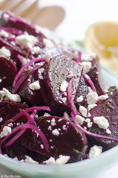 Roasted Beet Salad with Feta and Dill: it's an easy side dish recipe and is a great alternative to the usual holiday sides. Served cold with citrus and olive oil as a dressing it is a healthy and fresh option for any season! Beet Salad With Feta, Roasted Beet Salad, Beet Salad Recipes, Vegetable Recipes, Vegetarian Recipes, Cooking Recipes, Healthy Recipes, Roasted Beets Recipe, Kale Salads