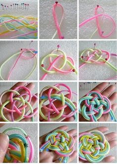 Chinese knot, I've tried making one of these before but failed. these instructions are really clear so maybe I'll have another go.: