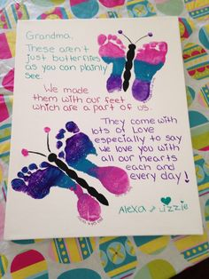 Mothers Day Idea Butterfly Footprints With A Special Poem For Grandma Heather Goewey Dad Birthday Gift From Daughter