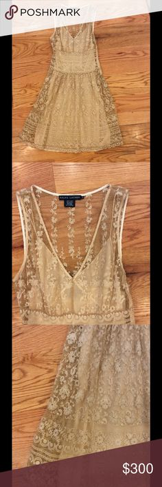 """Ralph Lauren Black Label Embroidered Dress Spectacular champagne colored open weave dress from Ralph Lauren. Cotton slip & woven outer layer with linen embroidery. Gorgeous details. Side snap closure. Length 38"""". A very special dress for a special occasion!  Excellent condition. Comment with any questions or make an offer. Ralph Lauren Dresses"""