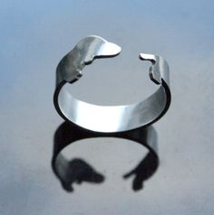 Fine Silver .999 Dachshund Doxie Dog Wrap Ring