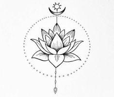 Simple Lotus Flower Tattoo, Lotus Mandala Tattoo, Lotus Flower Tattoo Design, Lotus Flower Mandala, Flower Tattoo Drawings, Flower Tattoo Back, Tiny Lotus Tattoo, Mini Tattoos, Cute Tattoos