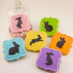 """Easter Cookies, Decorated Bunny Silhouette Cookies (2.75""""  size) - individually sealed. $16.80, via Etsy."""