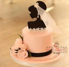 Best 12 Colourful flower cake with a female silhouette – Page - Tort - Torten Gorgeous Cakes, Pretty Cakes, Fondant Cakes, Cupcake Cakes, Silhouette Cake, Bride Silhouette, Brides Cake, Bridal Shower Cakes, Cakes For Women