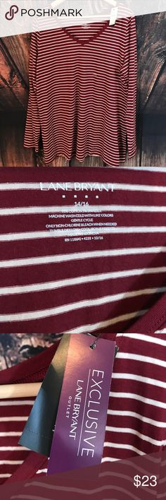 NWT Lane Bryant long sleeve striped top Maroon Lane Bryant long sleeve striped shirt. Size 14/16 Lane Bryant Tops Tees - Long Sleeve
