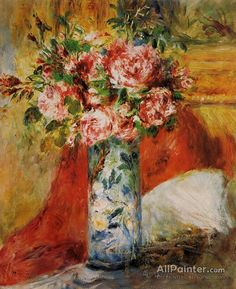 Pierre Auguste Renoir Roses In A Vase oil painting reproductions for sale