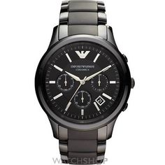 EMPORIO ARMANI Mens Emporio Armani Ceramica watch in black is made from Ceramic and features a round case. This Emporio Armani design is set around a sleek black dial with stand out silver hour markers, date function and chronograph. The mens watch. Gents Watches, Stylish Watches, Watches For Men, Cheap Watches, Emporio Armani Mens Watches, Herren Chronograph, Authentic Watches, Armani Black, Black Armani Watch
