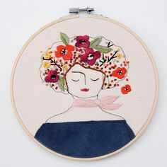 8 inch lady... #embroidery #hoopart #textile #art #illustration #flowers #handmade #darling #everymoment