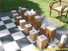 outdoor chess on any budget, concrete masonry, crafts, outdoor living, painting, via GiantChess com
