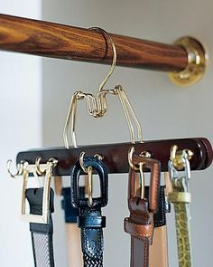Create a belt rack that matches your other hangers (and doesn't require making holes in the wall)