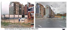 Castelao con Avinguda Granvia, inundación en noviembre de 1983 y 2016