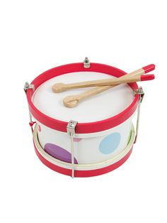 The Janod Confetti drum is made from a synthetic skin and wood to deliver an authentic sound. Complete with two drumsticks, kids are sure to love creating their Confetti, Drums, Toys, Shopping, Products, Drum Sets, Drum, Gaming