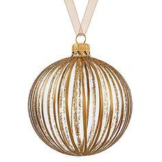 Buy John Lewis Boutique Glass Glitter & Metallic Stripe Bauble, Gold Online at johnlewis.com