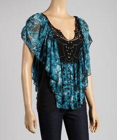 Loving this Blue & Black Cape-Sleeve Tee - Women on #zulily! #zulilyfinds