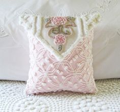Antique Chenille Pillows | pink roses LOVE NOTE vintage chenille by ... | Pillows
