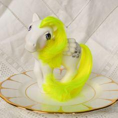 Vintage My Little Pony 'HoneyComb' Bumblebee White Neon Yellow Pegasus - 1984 - UK / EU Exclusive - G1 - MLP - Rare - 80s - Hasbro by TeaJay, Vintage  Toy  Animal  Bumble bee  Honeycomb  yellow  pegasus  custom  my little pony  white  1984  g1  UK  EU Hong Kong  MLP