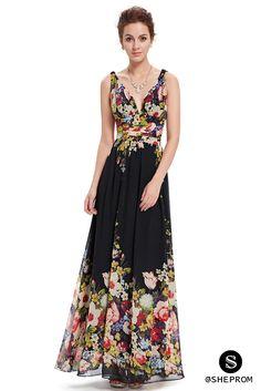 Black Floral Double V-Neck Chiffon Evening Dress -  39  EP09016BP -  SheProm.com 394e49f65