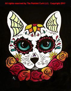 Folsom Family Room 9/29: Sugar Skull Cat ~ SUPER SPECIAL ~ Only $35!-Class (Ages 7+) Sugar Skull Cat, Sugar Skulls, Sugar Skull Painting, Crane, Warrior Cats Art, Black Cat Art, Autumn Painting, Cat Tattoo, Cool Paintings