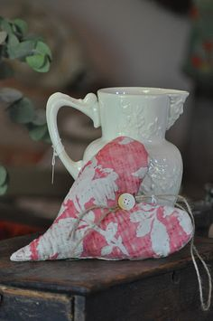 Old Quilted Heart...white pitcher.