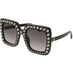 Gucci Square Swarovski& Sunglasses (€815) ❤ liked on Polyvore featuring accessories, eyewear, sunglasses, black, gucci sunglasses, square glasses, logo sunglasses, swarovski crystal sunglasses and studded sunglasses