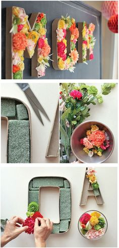 Easy way to make flower display using Paper Mache letter. This one spells the word MOM. What a great Mother's Day Gift.