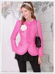 Morpheus Boutique  - Pink Ruffle Zipper Down Jacket Hem Coat Outwear